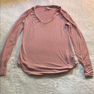 Woman's XS Pink/White Striped Old Navy V-Neck